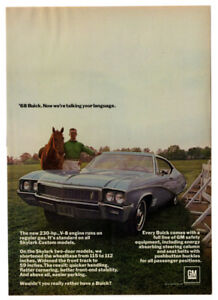 1968-BUICK-Skylark-2-door-Vintage-Original-Print-AD-Blue-car-photo-horse-English