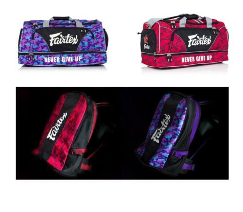 Fairtex Muay Thai Boxing Gym Bag Backpack Red Purple Camo Heavy Duty Waterproof