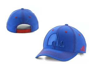 cheap for discount 8e6a9 afd68 Image is loading NHL-Quebec-Nordiques-adidas-Bar-Down-Blue-Snapback-