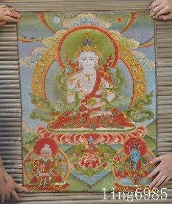 "36/""Tibet Tibetan Cloth Silk White Tara Kwan-yin Guan Yin Tangka Thangka Painting"