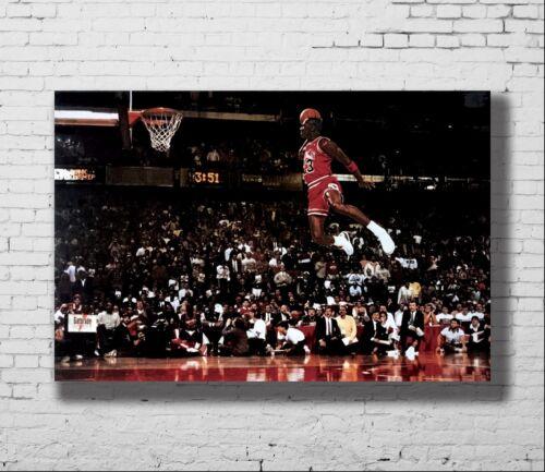 P-146 Art Michael Jordan Famous Foul Line Dunk Vintage LW-Canvas Poster 24x36in