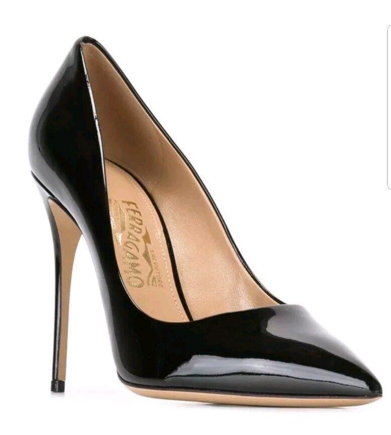Salvatore Ferragamo susie bow pigalle schwarz Größe 10 10 10 heels patent leather  795 8d6084