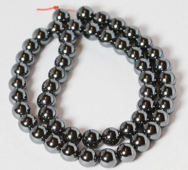 """8 MM Hematite Round Semi precious Gemstone Beads 16"""" Strand /   1.2 MM Hole"""