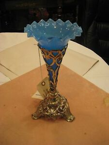 Victorian-Epergne-Centerpiece-Blue-Glass-Vase-with-Silver-Plated-Stand