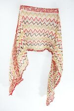 LADIES RED FLORAL  BEIGE ZIG ZAG PATTERN STATEMENT SCARF UNIQUE(MS41PT2/3)