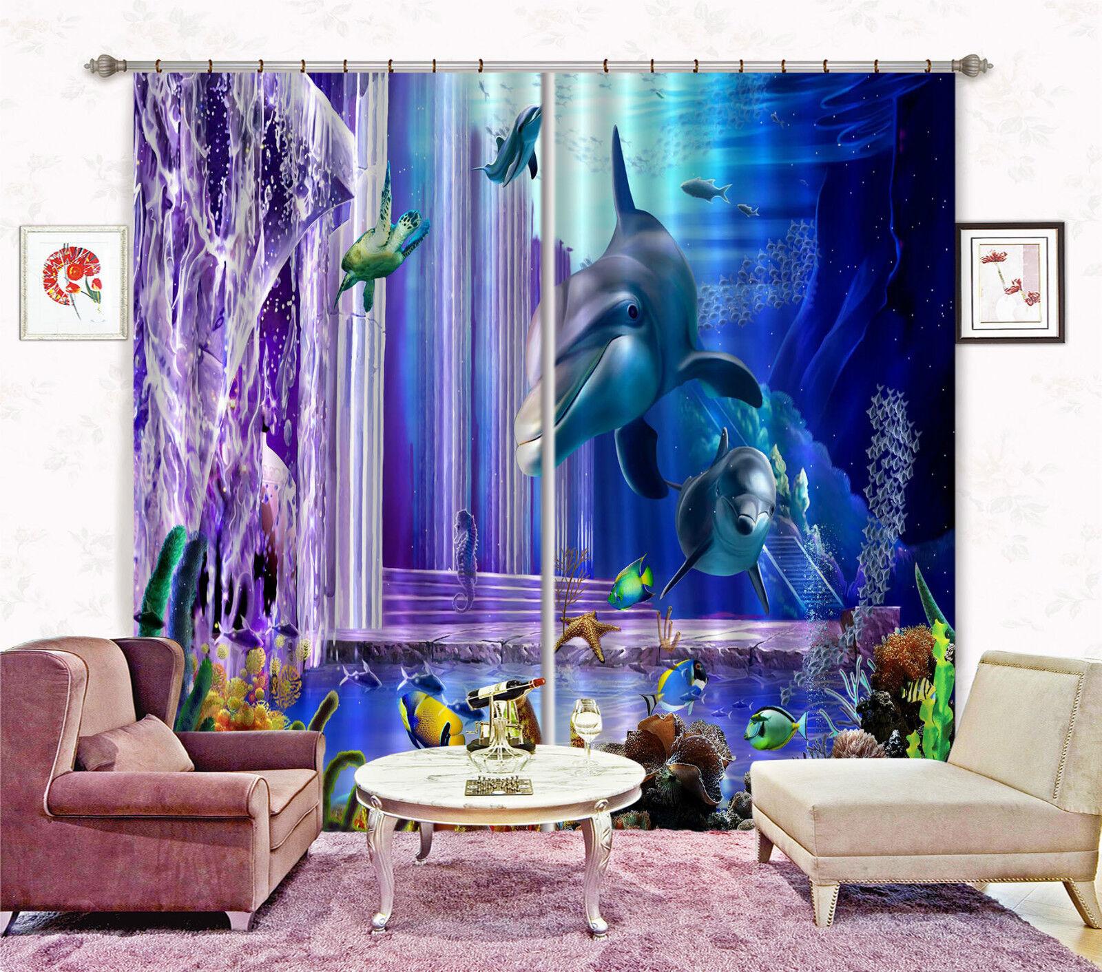 3d delfines océano 33 bloqueo foto cortina cortina de impresión sustancia cortinas de ventana