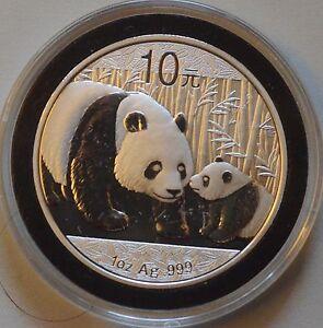 2011 China Silver Panda coin 1 oz .999 Fine 10 Yuan Chinese in Capsule