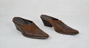 Donald-J-Pliner-Womens-Leather-Brown-Mule-Heels-9-5-M