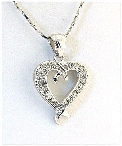 Genuine Diamond Heart Pendant 0.15Ct 10K White gold, 0.95  Long, New