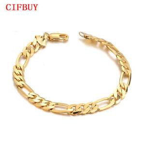 CIFBUY-Herren-Armband-21cm-Lange-Gold-Farbe-Edelstahl-Schmuck-Geschenk-Pulseira