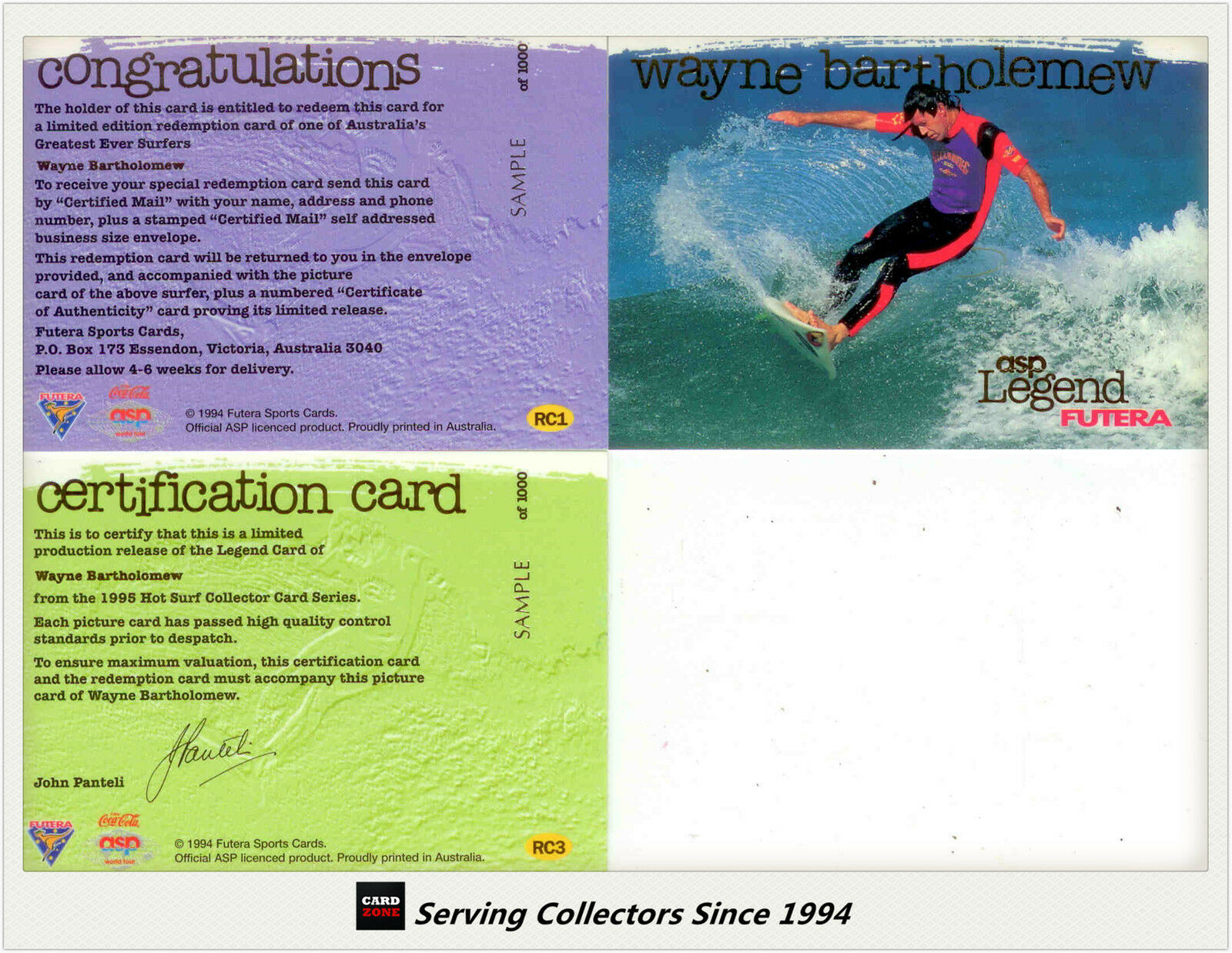 1995 Futera Hot Surf Trading Card Wayne Bartholemew Legend Sample Set (3)