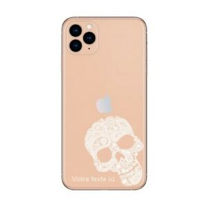 Coque Iphone 12 PRO MAX tete mort dentelle blanc personnalisee
