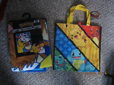 Pokemon Nintendo Northwest Company Pikachu 46 x 60 Blanket @Tote Bag Both New