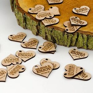 Personalised 4cm Hearts Rustic Wedding Guest Favour Gift. Wooden Drink Tokens