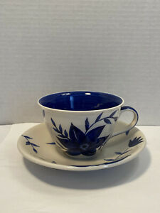 Hues 'n Brews by Herman Dodge & Son Inc. Blue Floral Cup & Saucer Hand Painted