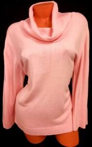 Sherry taylor pink mock neck women's long sleeve pullover sweater 2X