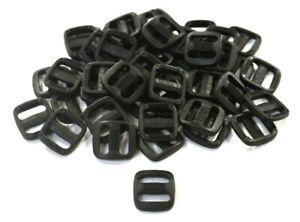 13mm Black Plastic 3 Bar Slides Triglides x 25 Webbing Bags Straps Collars Leads