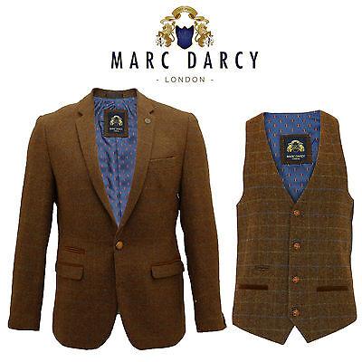 Hommes marc darcy designer 2 pièces tan tweed herringbone blazer gilet