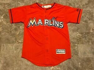 premium selection ead76 ff0bc Details about Kids Giancarlo Stanton #27 Miami Marlins Sewn Majestic Jersey  Youth Size Small