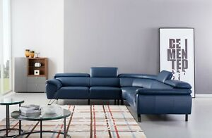 Details about 3PC Modern Light Gray Italian Top-Grain Leather Sofa x 2  Corner Sectional Set