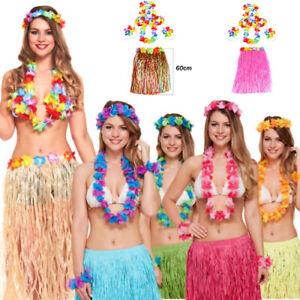 Womens Hawaiian Fancy Dress 6 PCS Set Flower Costume Lei Skirt Straw Hula Set
