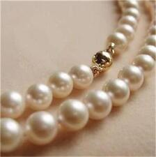 9K  Gold CLASP 8-9MM White Akoya Pearl Necklace AA+ x-01