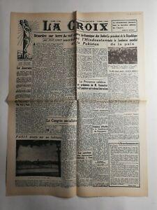 N310-La-Une-Du-Journal-La-croix-18-aout-1947-desordre-sur-terre