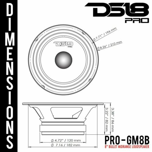 "2 DS18 PRO-GM8B 8/"" Bullet Midrange Loud Speaker 8-Ohm 1160W Mid Range Bass Pair"
