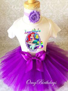 322f627df6f23 Ariel Little Mermaid Purple Third 3rd Birthday Tutu Outfit Set Shirt ...