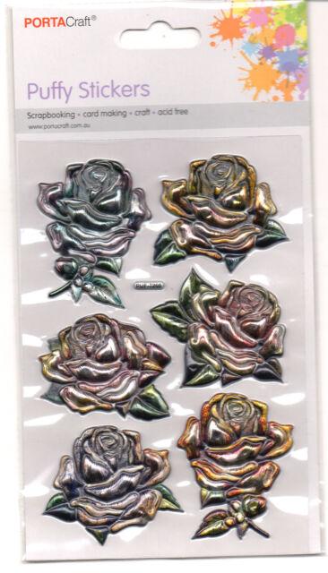 Vintage Roses Enamel Look Embossed Stickers