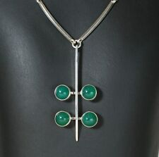 Danish silver pendant/necklace set with 4 green Onyx made by N.E.From
