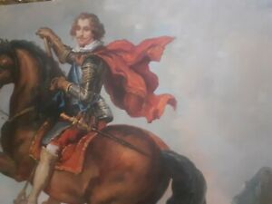 Quadro-Dipinto-a-Mano-Olio-Su-Tela-scena-uomo-cavaliere-60x90-con-telaio-unico
