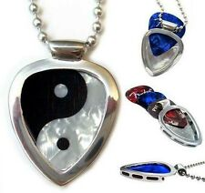 Pickbay Guitar Pick Holder Pendant Necklace ENGRAVABLE w Ying Yang Guitar Pick