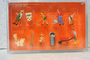 Preiser 10046 HO 1/87 Gardeners and Accessories Figures C-9 NIB