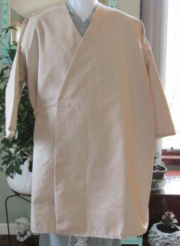 "Wraparound Smock Gown 3//4 Sleeve Medical Butcher 37/"" Length Size 4X Tan"