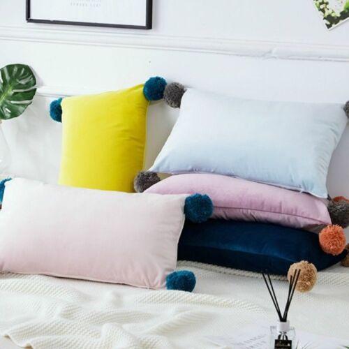 Throw Pillow Case Cushion Cover Pom Pom Velvet Fluffy Furry Sofa Decor Soft Chic