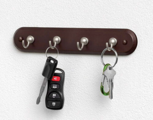 Wall Mount Key Rack Hanger Rail Keys Holder Organizer 4 Hook Chain Home Storage