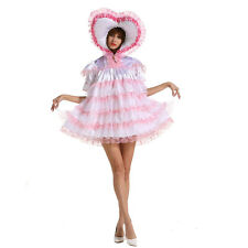 Adult Baby Sissy Lockable Sweet Heart Soft White Satin Dress Uniform Crossdress