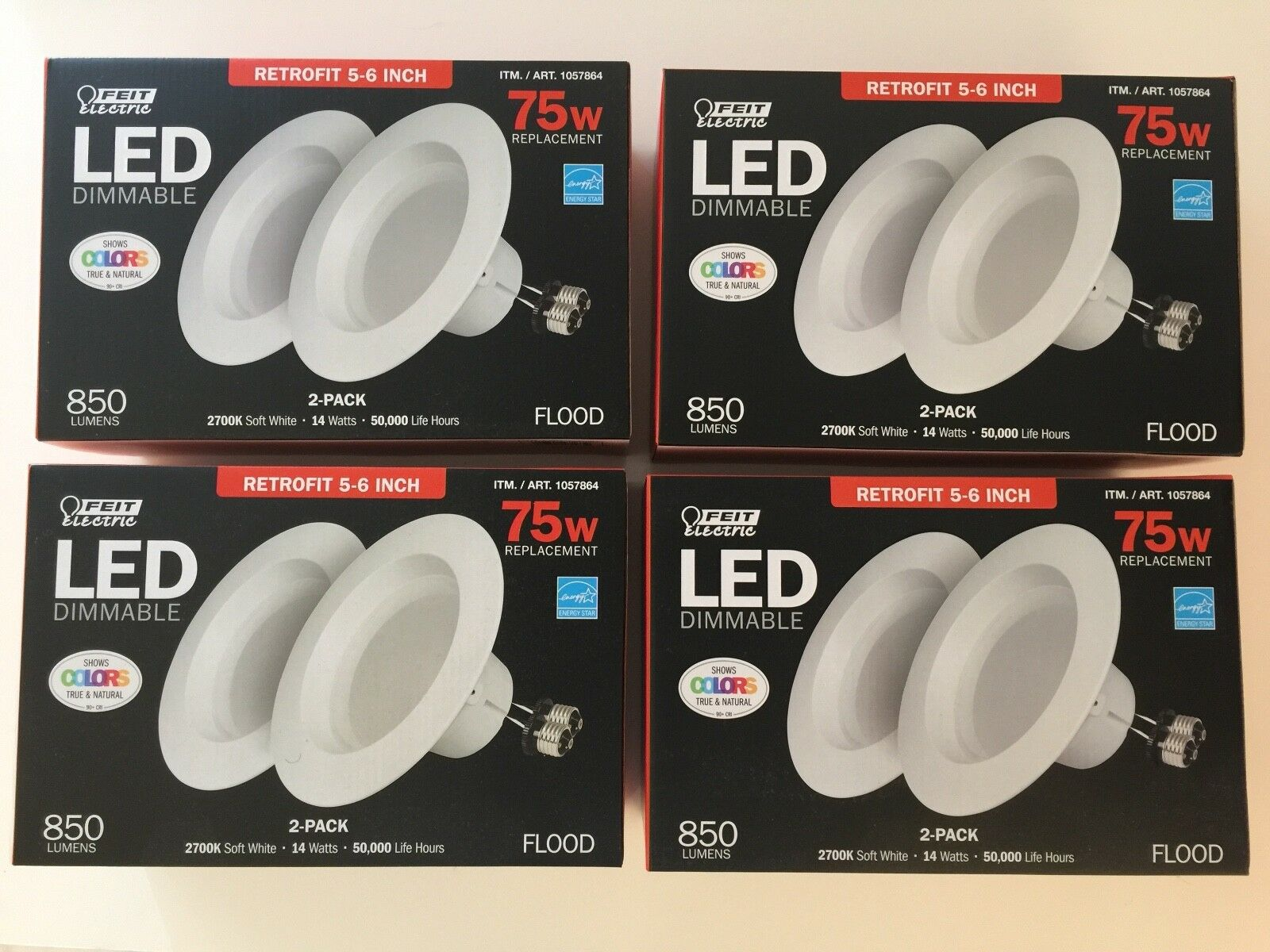 8 x Feit Electric 5-6 inch LED Recessed Retrofit Lighting Kit 75w Dimmable NEW