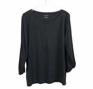 Talbots-Womens-Knit-Tunic-T-Shirt-2X-Black-Cotton-Modal-Ruched-Cuff-Round-Neck