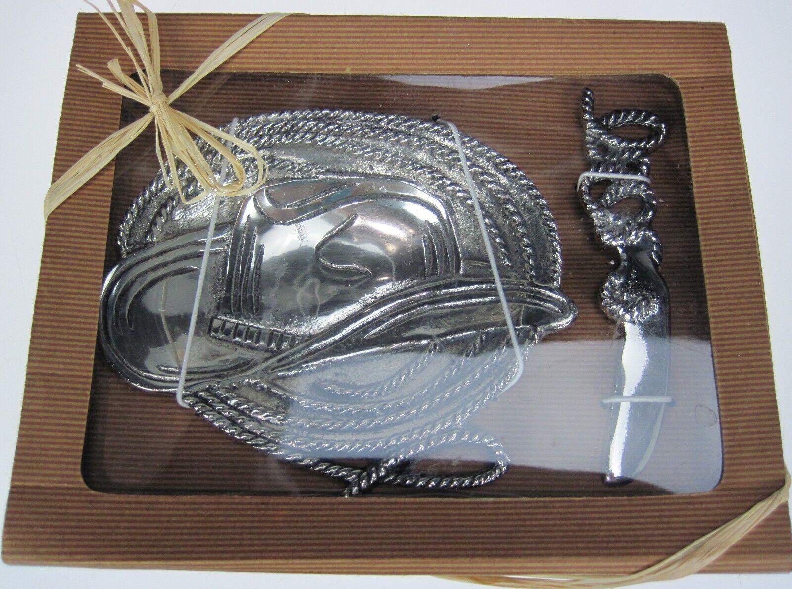Dip Dish Spreader Set Cowboy Hat Lasso Rope Pinto Ranch Farm Country Server