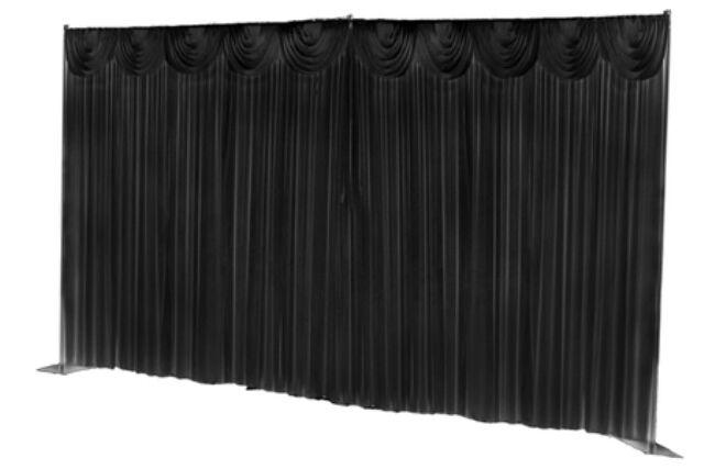 Mariage toile de fond rideau avec festons pour la vente (6m x 3m avec festons) noir