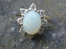 Vintage 14K White Gold Opal and Diamond Ring - Size 4.5