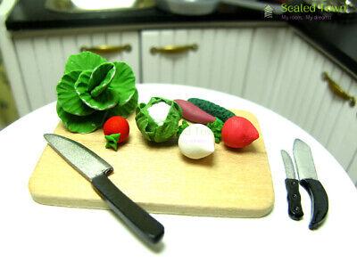 1:12 Dollhouse Miniature Kitchen Food Knife+Chopping Block Doll House Accessoba