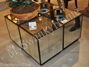 Horchow mirrored cube mirror glass table cocktail coffee for Glass cube coffee table