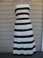 BCBG Max Azria Sz 0 Black White Tiered Sheath Strapless Women's Dress EUC