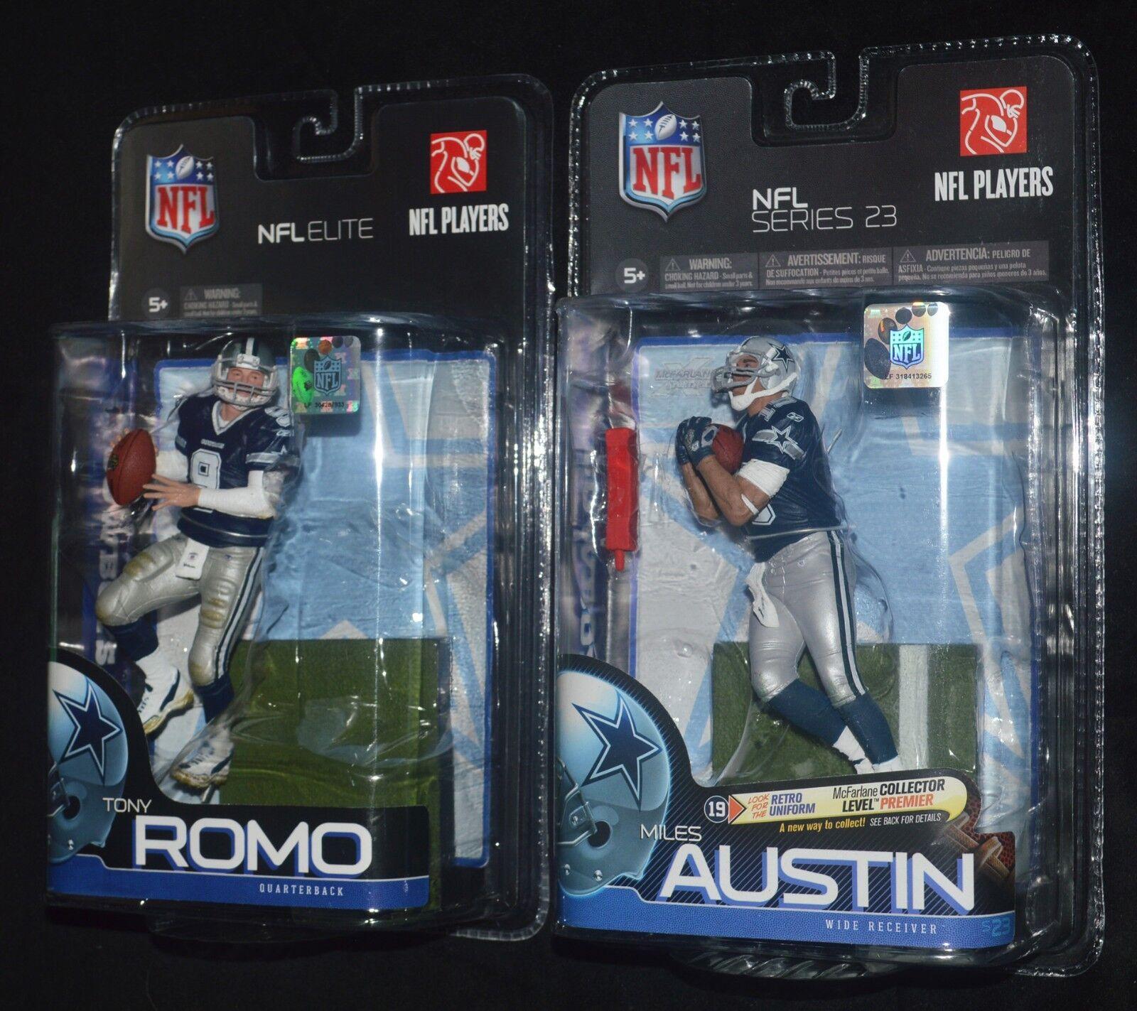 TONY ROMO & MILES AUSTIN Dallas Cowboys QB & WR Action Figures McFarlane NFL MIP