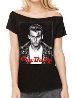 Rock Rebel Womens Johnny Depp Cry Baby Off Shoulder T Shirt