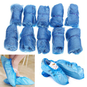 100 Pcs Medical Waterproof Boot Covers Plastic Disposable Shoe Covers FO