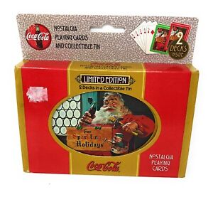 1998 LIMITED EDITION COCA-COLA NOSTALGIA PLAYING CARDS IN TIN -  2 SEALED DECKS